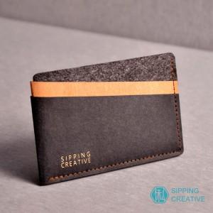 俬品創意 - 設計款紙革信用卡夾(時尚黑)
