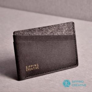 俬品創意 - 設計款紙革信用卡夾(極簡黑)