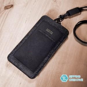 俬品創意 - 設計款紙革直式手機套附頸繩 (適用5.5吋)-極簡黑