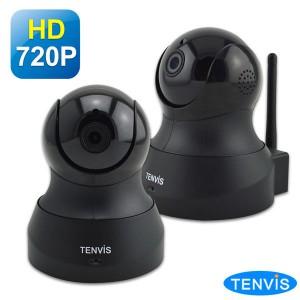 TENVIS TH-661 HD無線網路攝影機 (黑色兩入組) WDR廣域動態視角&3D-DNR降雜訊