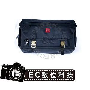 單肩背式大容量黑色尼龍相機銅扣大方包 EC-08